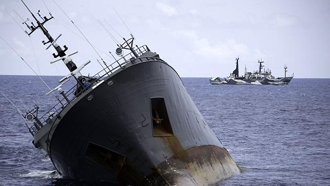 Sea Shepherd ships remain at a safe distance from the sinking poaching vessel. Picture: S