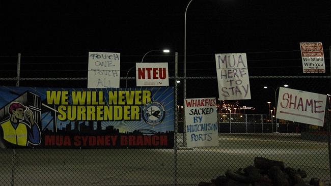 Protest signs outside Port BotanyGate B150. The MUA says there are now guards on the gate