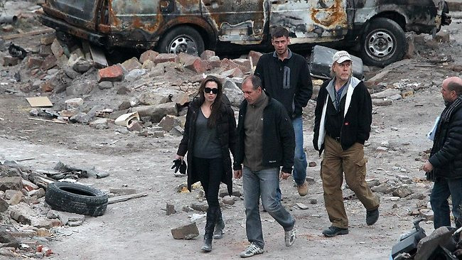 Angelina Jolie on location