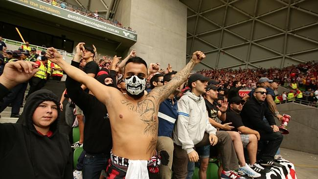 Wanderers fans at AAMI Stadium in Melbourne