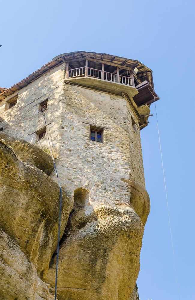 Meteora monastery and lifting cage.