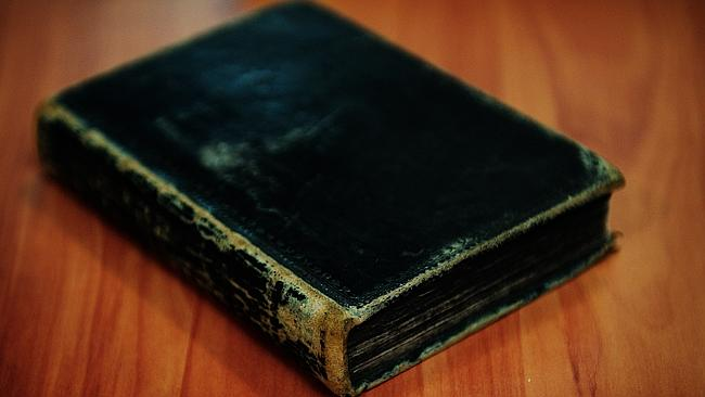 The 1669 Bible which was found among a stack of random books.