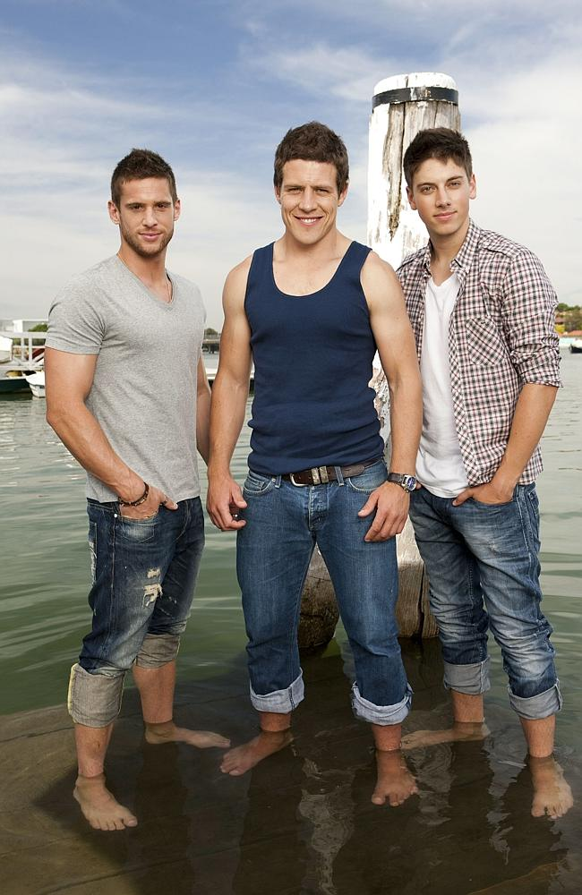 Actors (L-R) Dan Ewing, Steve Peacocke and Lincoln Younes from TV show 'Home And Away'. Pic Channel Seven.