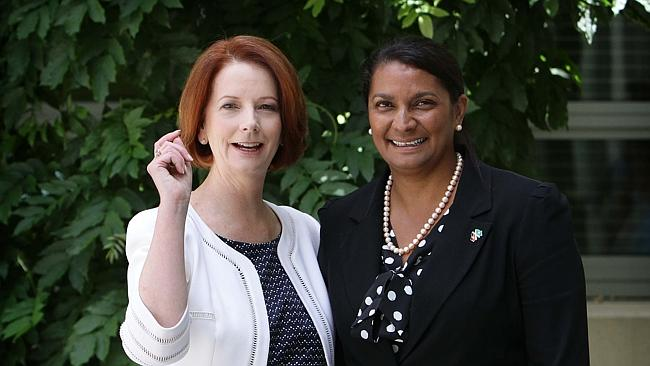 Then-Prime Minister Julia Gillard with Nova Peris at Parliament House in Canberra, after