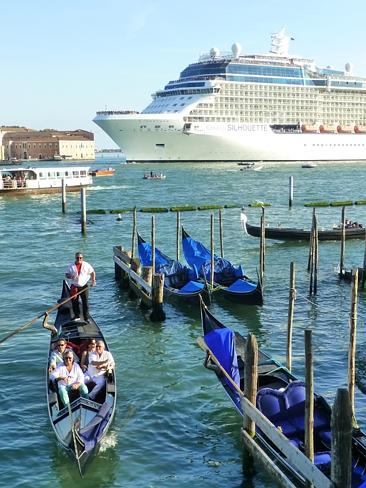 The ship leaves Venice on one of its final voyages from the city. Picture: Louise Goldsbu