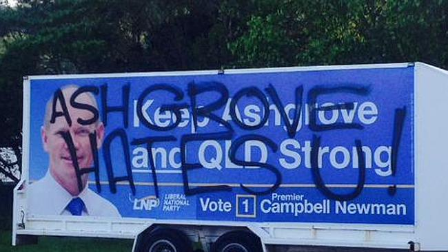 A LNP campaign trailer cops a spray overnight.