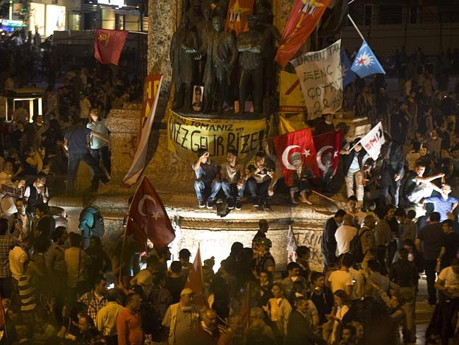 Ground zero for protest ... protesters gather at Istanbul's Taksim Square on June 3. Pict