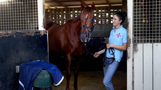 Bianca Gilcrist attends to Srikandi after trackwork at Doomben. Picture: Darren England