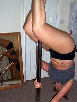 Kerry in the early days of her pole fitness career.