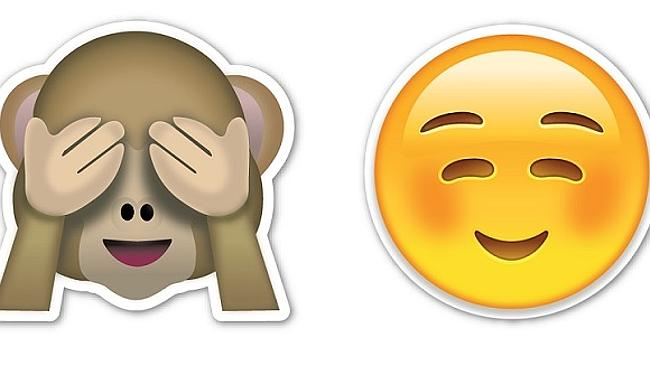 The emoji Australians use the least, a monkey who can't see, and the most, a smiley face.