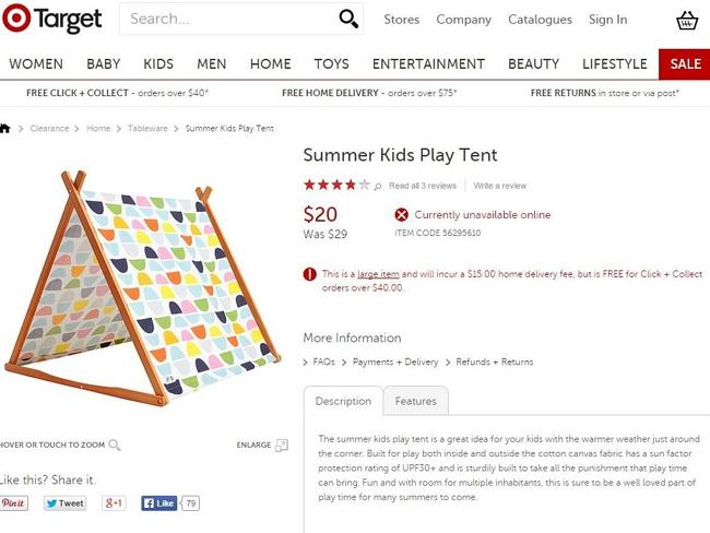 Target sells its line of kids' play tents for just $20 each, compared to a Such Great Hei