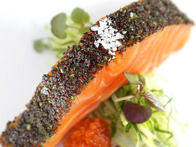 Confit ocean trout with kombu at Tetsuya's. Picture: Supplied
