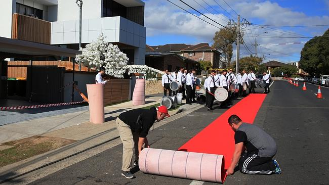 The red carpet goes out in front of the house of Auburn deputy mayor Salim Mehajer on Sat