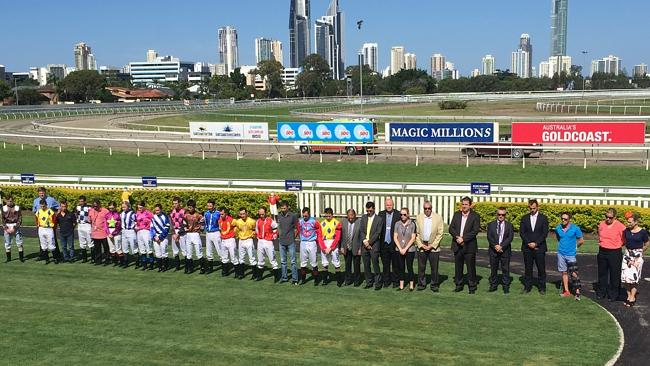 Jockeys and officials pay tribute to late jockey Tim Bell at the Gold Coast Turf Club on