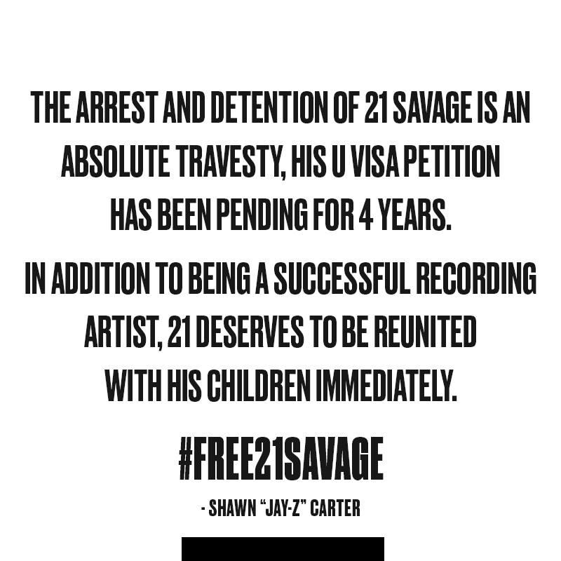 Jay-Z's message on 21 Savage's arrest