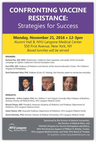 NYU holds a conference on resistance to vaccines  Antivaxers