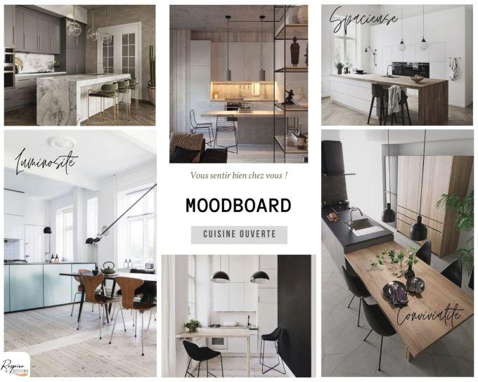 planche d'ambiance présentant des photos de cuisines ouvertes pour vous donner quelques inspirations