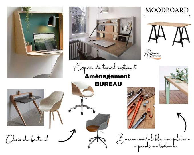 Moodboard présentant quelques idées pour aménager un espace de travail restreint avec quelques modèles de fauteuil de bureau