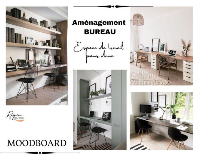 Moodboard d'inspiration présentant des espaces de travail aménagés pour deux personnes en télétravail