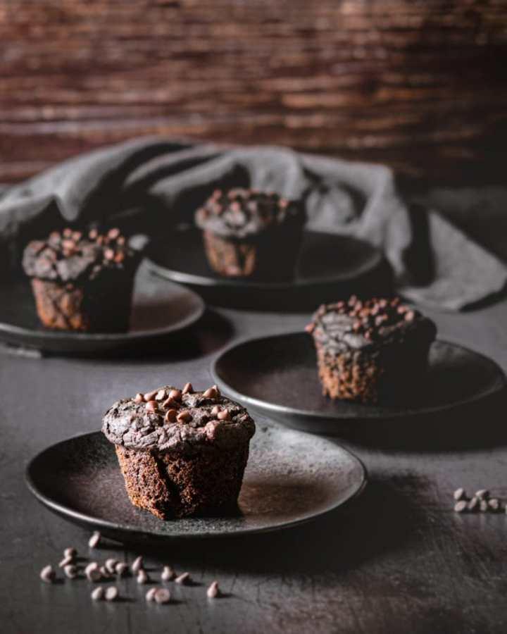 double chocolate sweet potato muffins