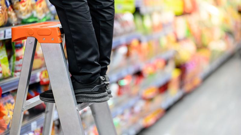 Supermarket worker feet