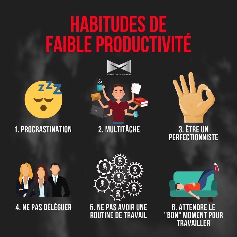 6 habitudes de faible productivité