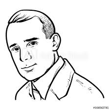 Napoleon Hill Vector illustration, Napoleon Hill Drawing outline ...