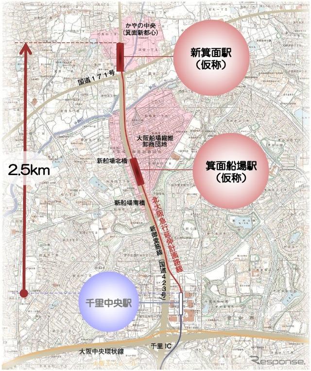 北大阪急行線延伸部の路線図。2020年度の開業を目指す。