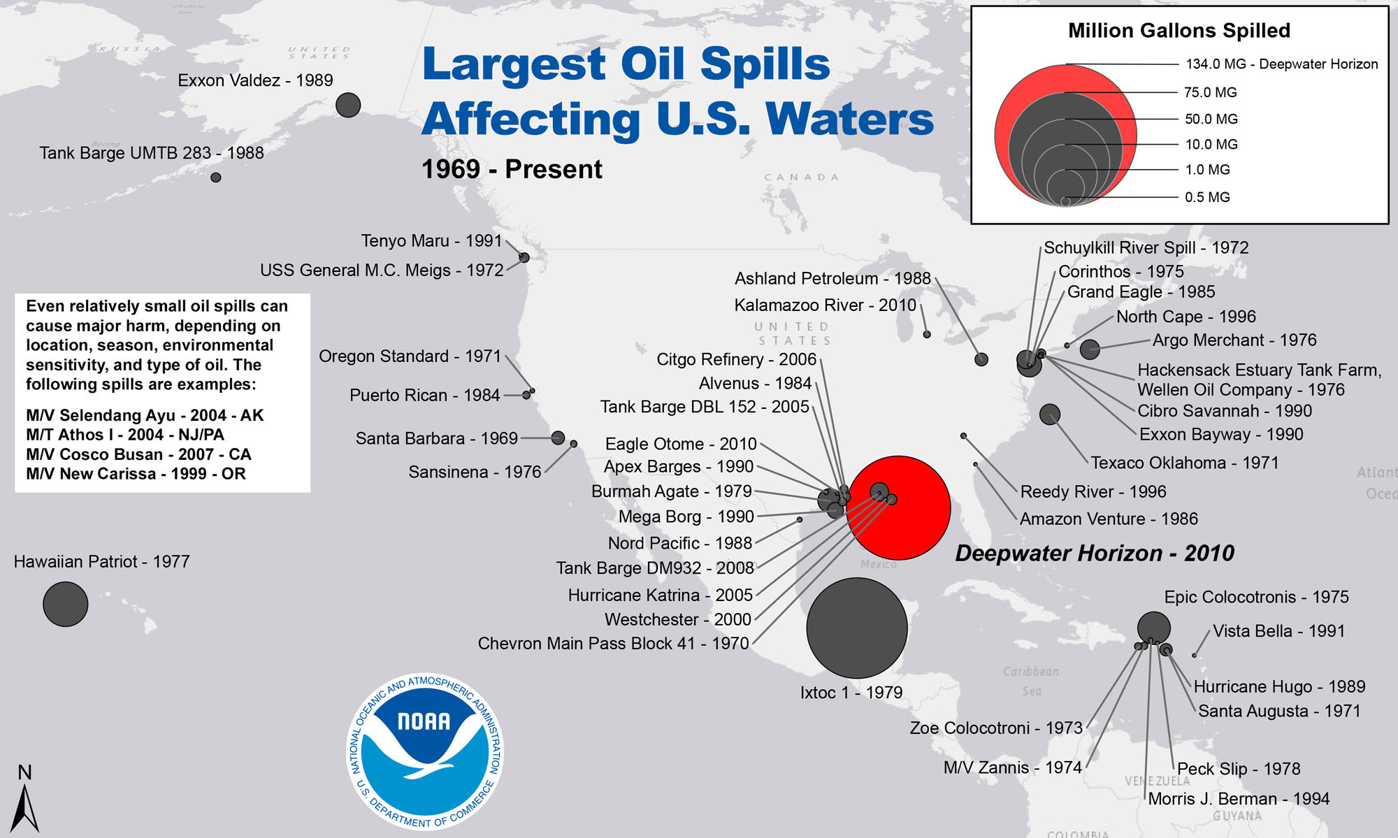 Largest Oil Spills Affecting U S Waters Since