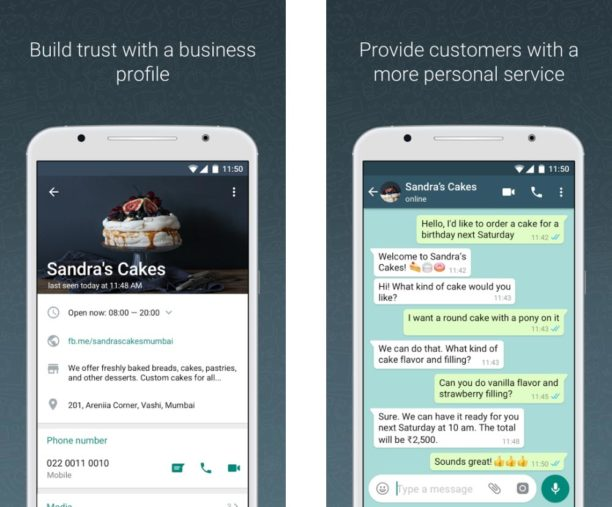 whatsapp business application entreprises service client publicité