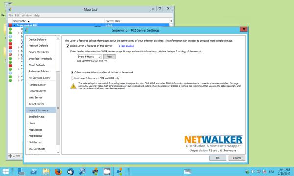 Activer Layer 2 sur le serveur InterMapper pour afficher l'architecture physique du réseau