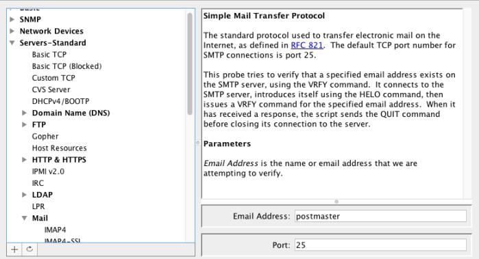 Intermapper utilise un script pour tester sans SNMP le serveur de mails