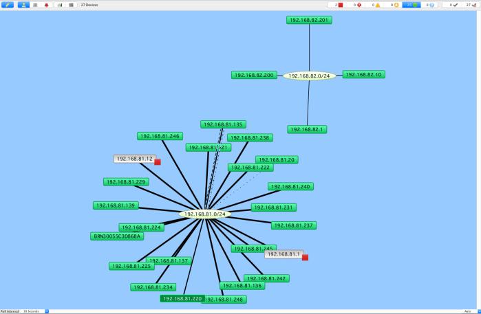 Intermapper présente par défaut l'architecture logique du réseau