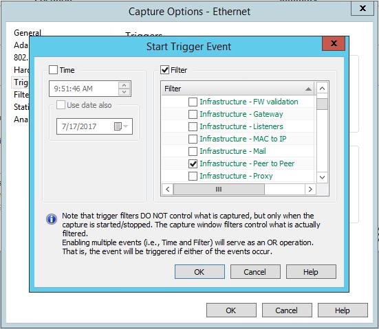 Configuration du Tragger dans l'outil de diagnostic réseau Omnipeek