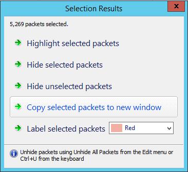 copier les paquets sélectionner dans une autre fenêtre