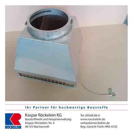 Kamin – Abströmkopf in Edelstahl matt Außenmaß 360x360x1 mm Ø 180 mm