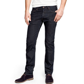 Dark-blue, well-fitting jeans
