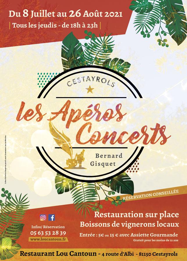 Apéros Concerts à Cestayrols tous les jeudis soirs de l'été 2021