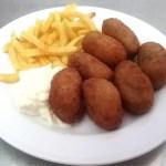 Croquetas de rabo de Toro sin gluten para nuestros amigos celiacos en Restaurante en Cordoba Sociedad Plateros Maria Auxiliadora para comer cerca del Palacio de Viana