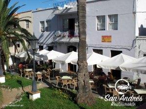 Terraza del Restaurante San Andrés · La Palma · Canarias · Pescado Fresco, Paella de Marisco, Gran Selección de vinos.