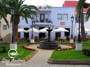 Plaza de San Andrés · Restaurante San Andrés · La Palma · Canarias · Pescado Fresco, Paella de Marisco, Gran Selección de vinos.