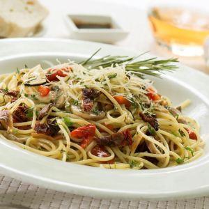 Spaguetti en vegetales asados
