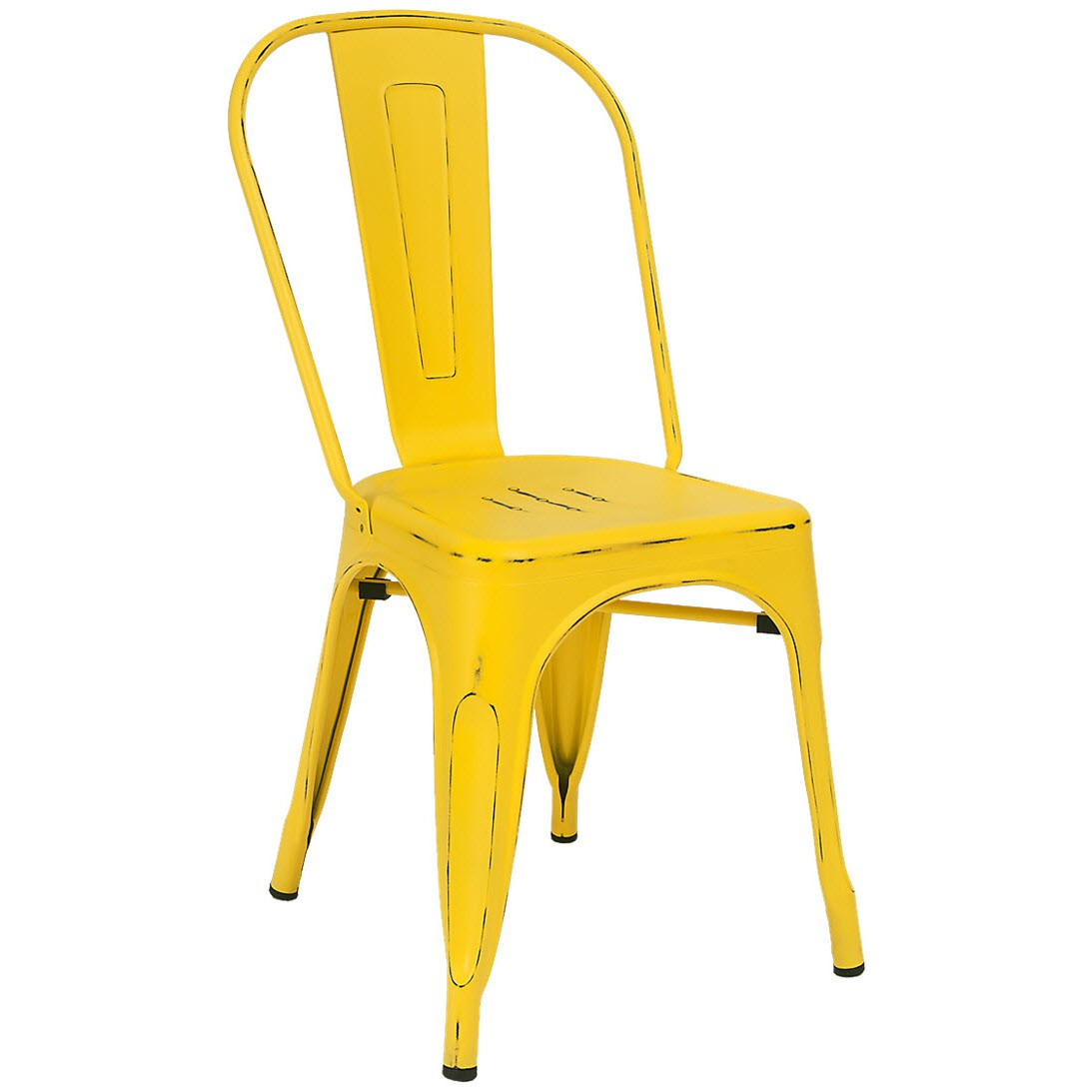 Yellow Metal Chairs Bistro Style Metal Chair In Distressed Yellow Finish