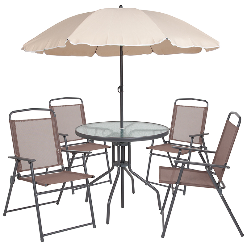 nantucket 6 piece brown patio garden set with table tan umbrella and 4 folding chairs