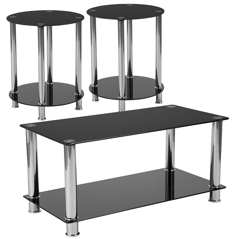 riverside collection 3 piece coffee and end table set with black glass tops and stainless steel frames