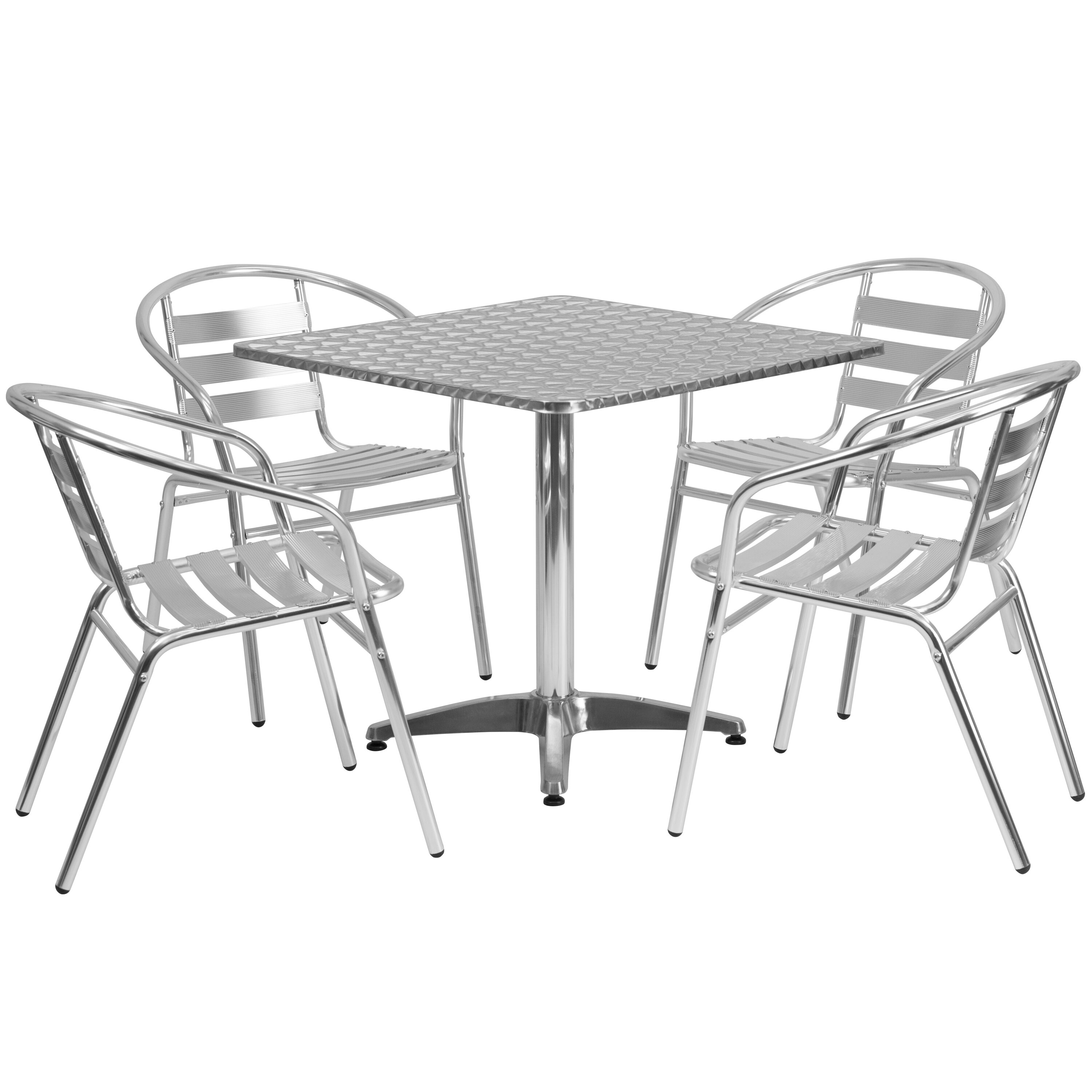 Outdoor Table And Chair Set 31 5 Square Aluminum Indoor Outdoor Table Set With 4 Slat Back Chairs