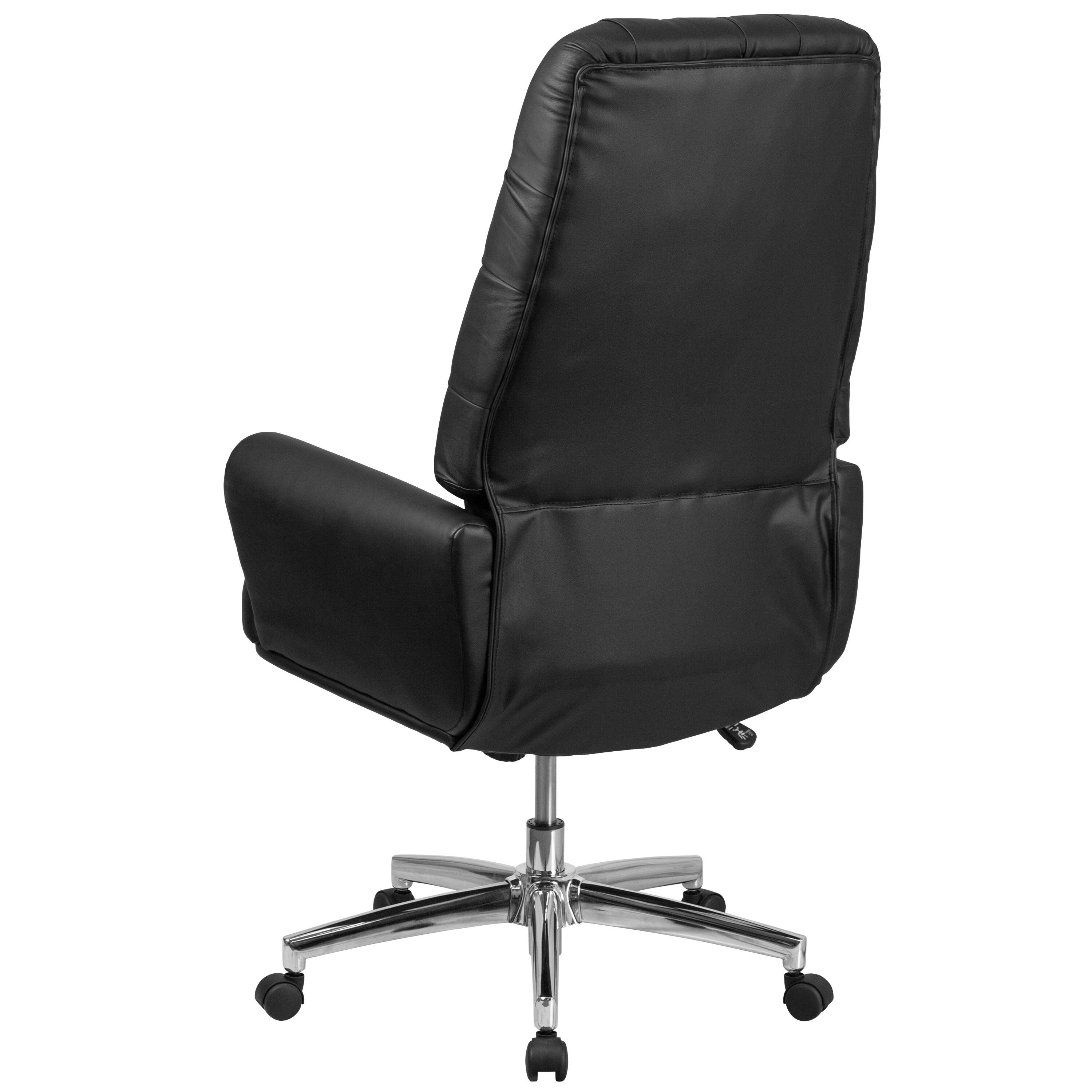 Tufted Leather Office Chair High Back Traditional Tufted Black Leather Executive Swivel Office Chair With Silver Welt Arms