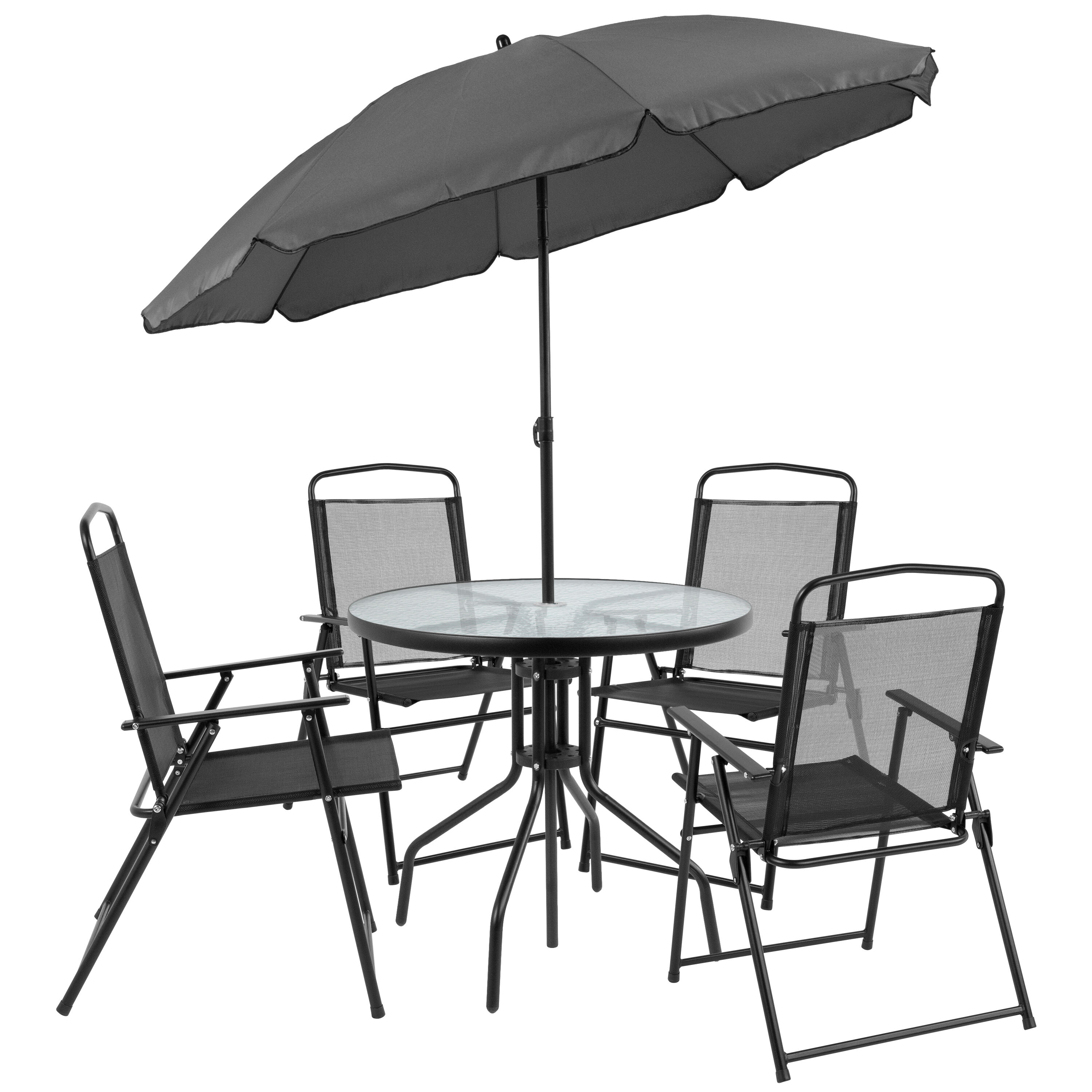 Folding Chairs With Umbrella 6pc Black Patio Set And Umbrella Gm 202012 Bk Gg