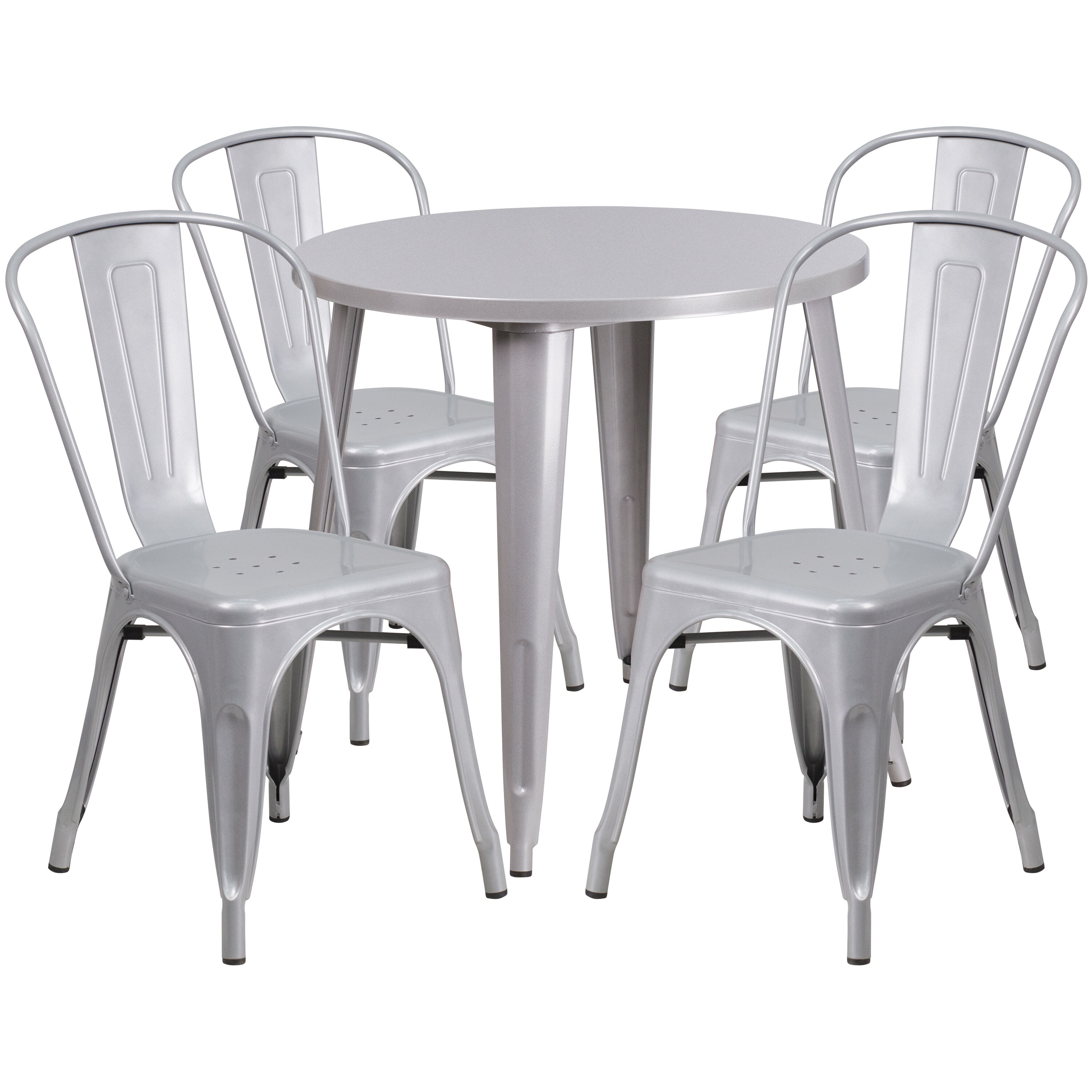 Outdoor Table And Chair Set 30 Round Silver Metal Indoor Outdoor Table Set With 4 Cafe Chairs