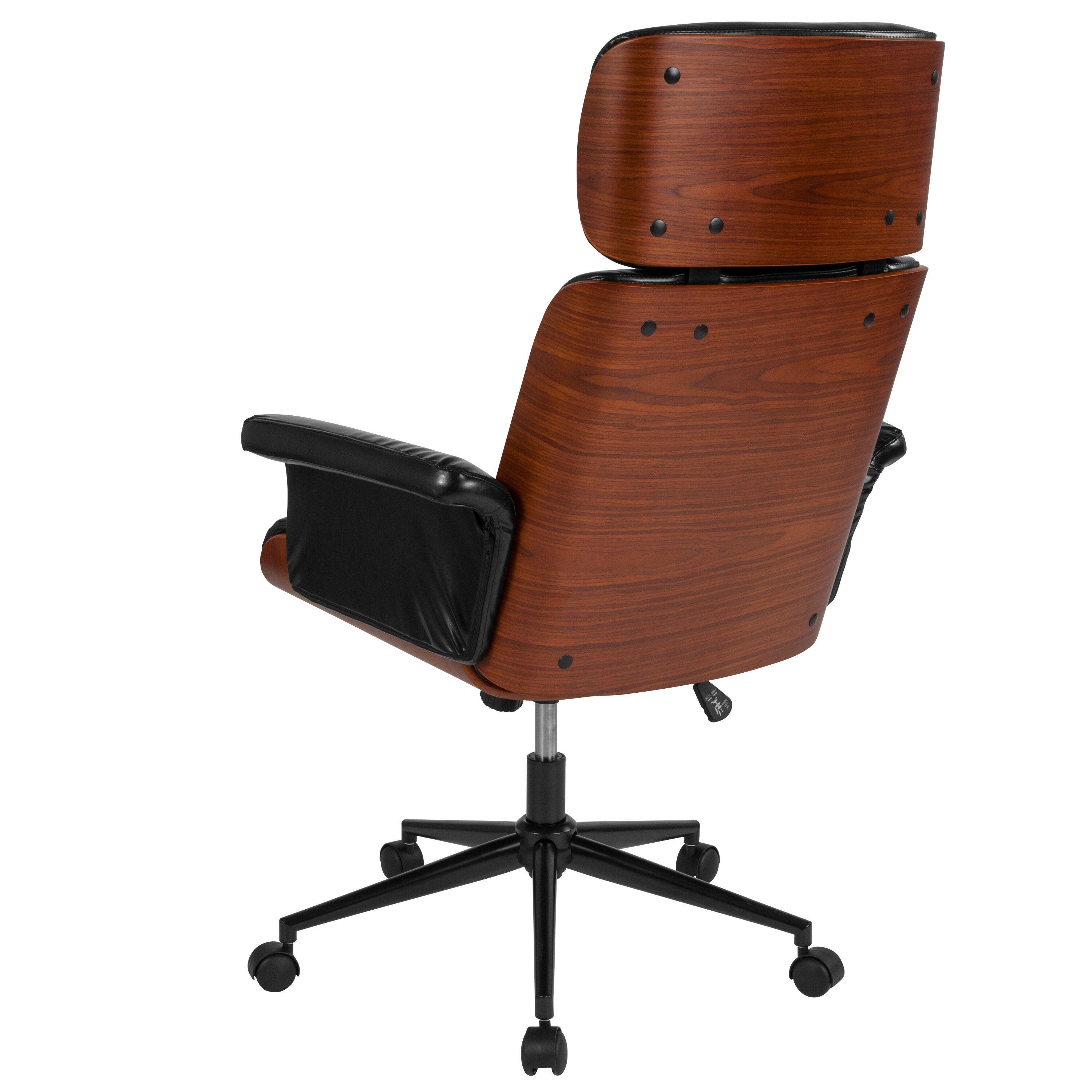 Leather And Wood Chair Contemporary Black Leather High Back Walnut Wood Executive Swivel Ergonomic Office Chair
